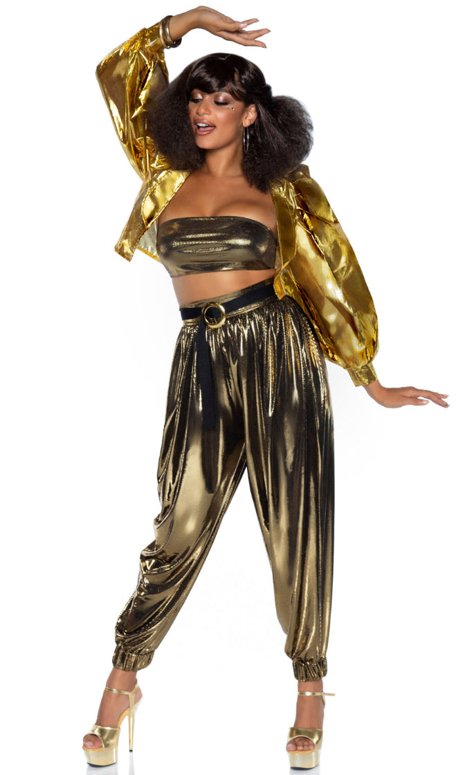 Studio Recording Gold Bandeau Top Crop Jacket Harem Pants 3 Piece Halloween Costume