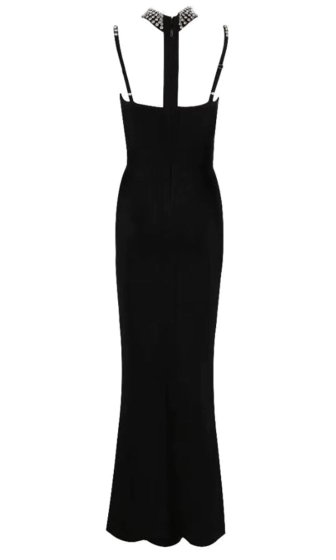 Live Forever Black Rhinestone Sleeveless Spaghetti Strap Mock Neck Halter Harness Cut Out Bodycon Bandage Maxi Dress