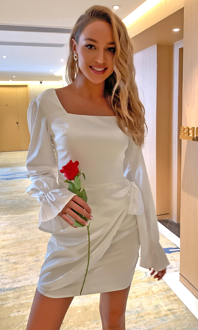 Hollywood Star White Satin Long Puff Sleeve Flare Cuff Square Neck Draped Tie Waist Bodycon Mini Dress