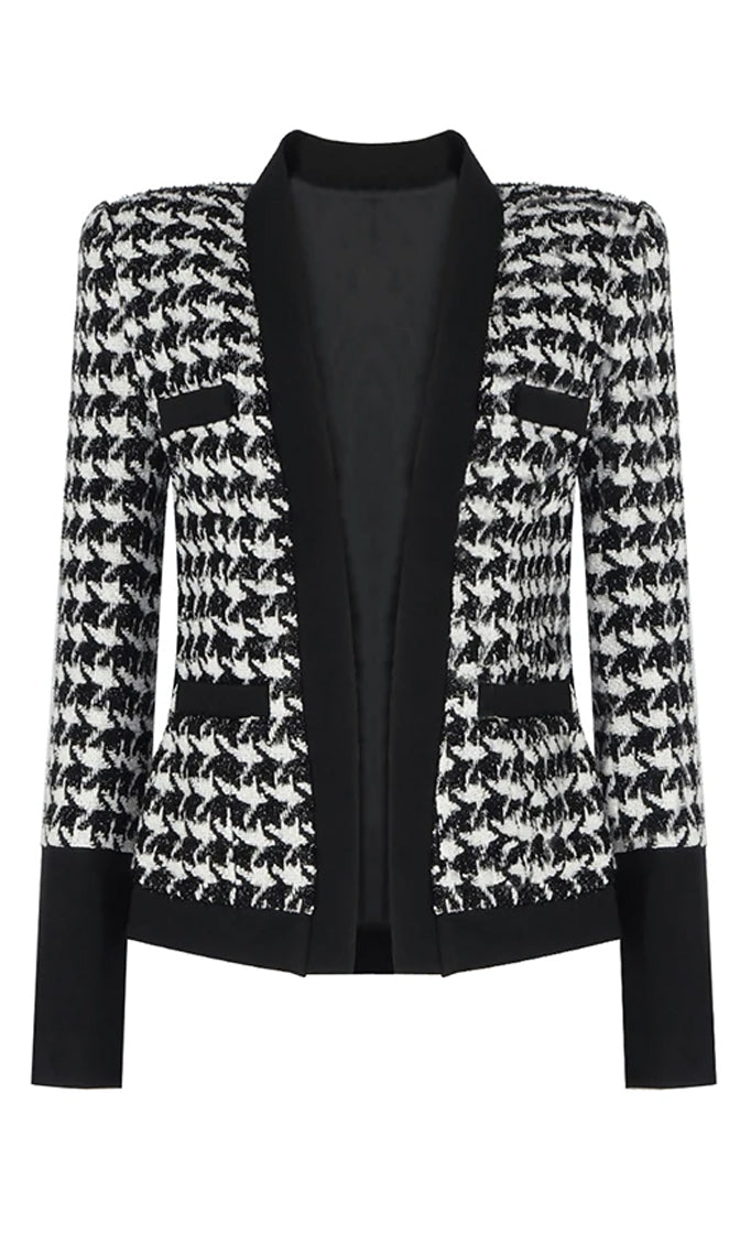 Born Beautiful Houndstooth Tweed Black White Contrast Button Open Satin Lapel Long Sleeve Jacket Coat Outerwear