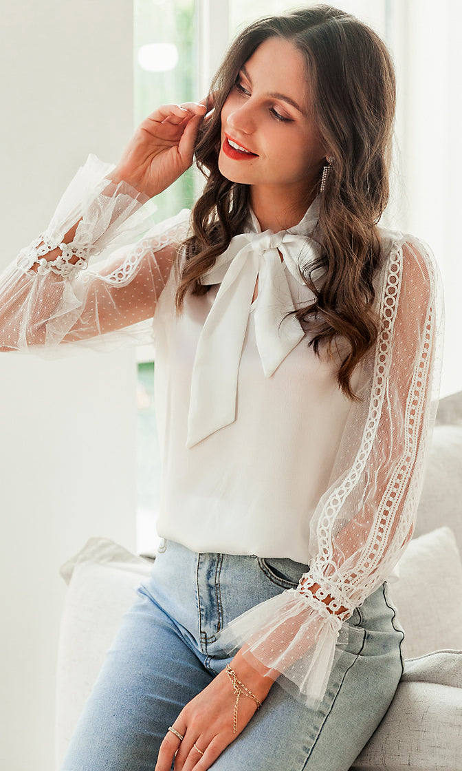 So Romantic White Sheer Mesh Lace Trim Cut Out Long Sleeve Bow Blouse Top