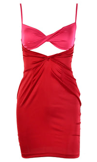 Whatever I Say Satin Sleeveless Spaghetti Strap V Neck Twist Cut Out Waist Bodycon Mini Dress