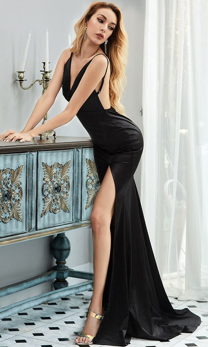 All About The Glamour Satin Sleeveless Spaghetti Strap Plunge V Neck Backless High Slit Fit And Flare Maxi Dress - 4 Colors Available