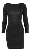 Always On The Lookout Black Sequin Long Sleeve Drape V Neck Bodycon Mini Dress