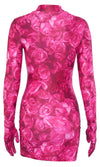 Pay Attention Hot Pink Floral Pattern Long Sleeve Mock Neck Matching Gloves Bodycon Mini Dress
