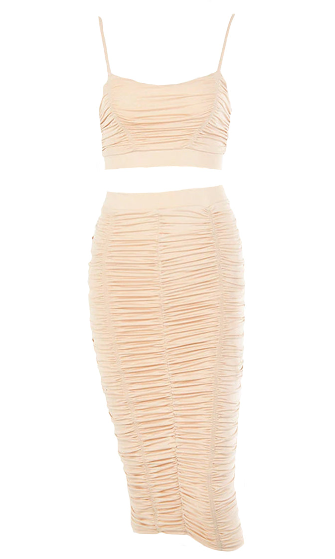 Dress Up Time Ruched Sleeveless Spaghetti Strap Scoop Neck Crop Top Bodycon Midi Two Piece Dress - 3 Colors Available