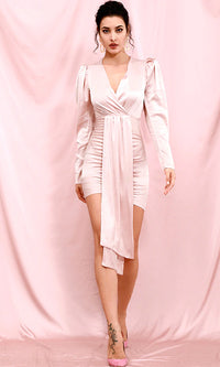 In A Moment Pink Satin Long Sleeve Puff Shoulder Cross Wrap V Neck Drape Ruched Bodycon Mini Dress