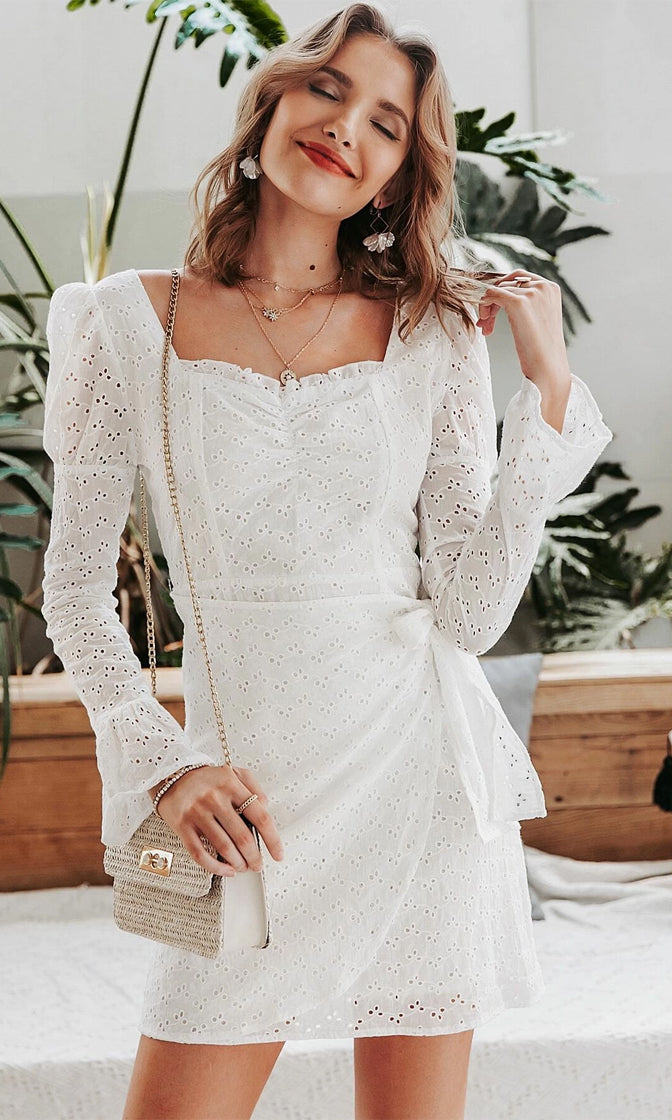 Light Up My Life White Eyelet Lace Long Sleeve Puff Shoulder Wrap Bow Belt Casual Mini Dress