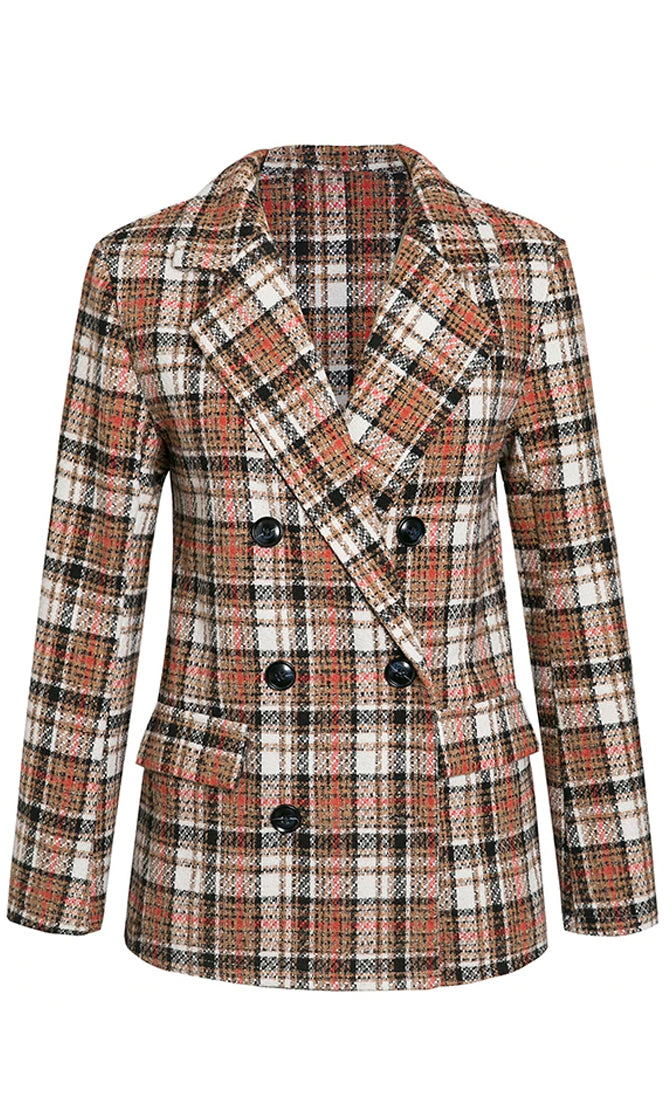Give Me Cover Orange Plaid Pattern Tweed Long Sleeve Double Breasted Button V Neck Blazer Jacket Outerwear
