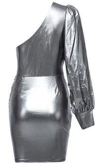 Shine In The Night Silver One Shoulder Long Puff Sleeve Ruched Knot Twist Wrap Bodycon Mini Dress