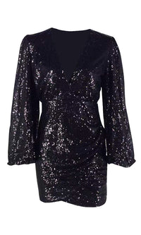 Feeling The Glam Black Sequin Long Lantern Sleeve Cross Wrap V Neck Asymmetric Bodycon Mini Dress - Sold Out