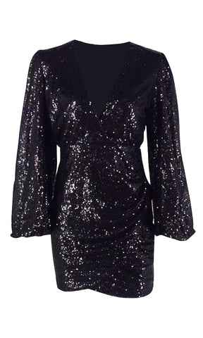 Making Things Better Silver Sequin Long Lantern Sleeve Cross Wrap V Neck Tie Belt Mini Dress