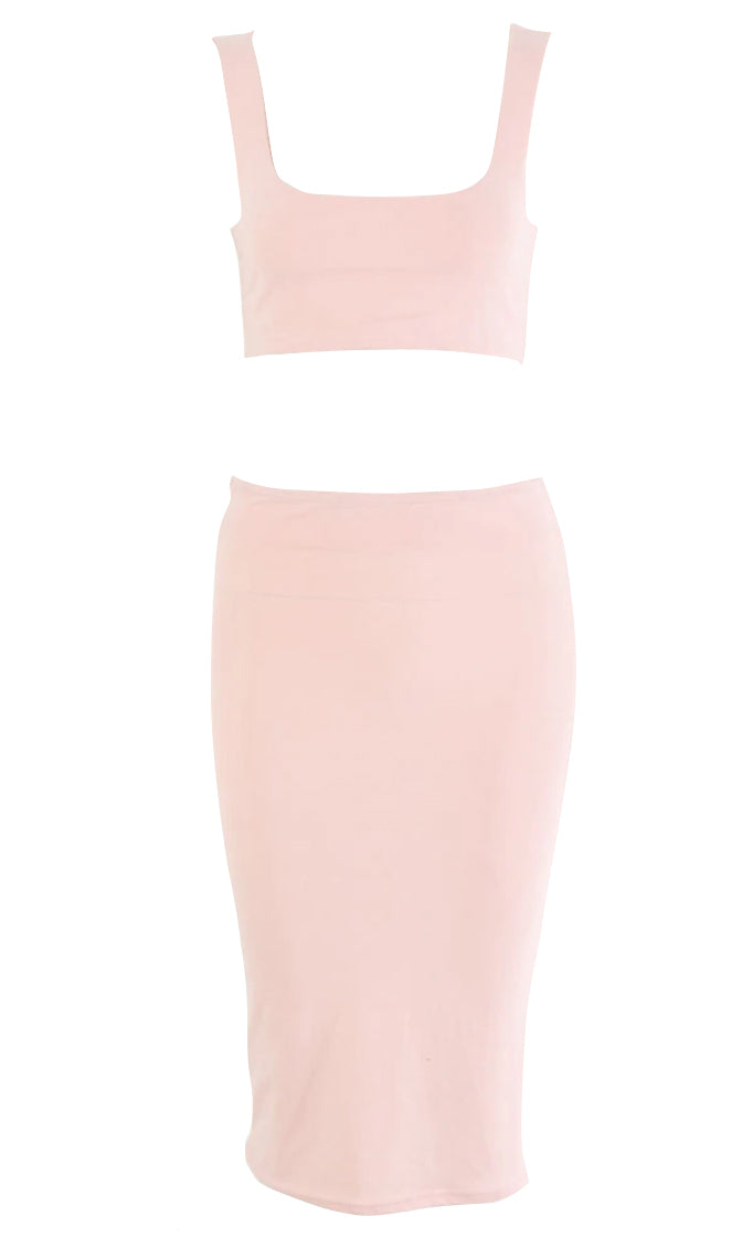 Obey Me Sleeveless Scoop Neck Crop Top High Waist Bodycon Midi Skirt Two Piece Dress - 4 Colors Available
