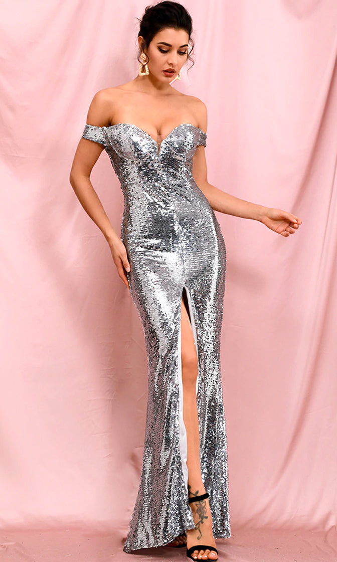 See Me Shine Silver Sequin Front Slit Strapless Off The Shoulder Mesh Cut Out Sweetheart Neckline Maxi Dress