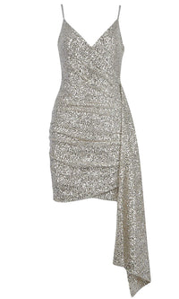 At The Dance Silver Sequin Sleeveless Spaghetti Strap Cross Wrap V Neck Draped Bodycon Mini Dress