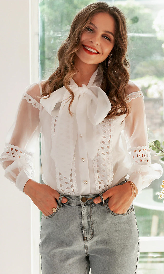 All The Romance White Sheer Mesh Long Sleeve Cut Out Lace Bow Neck Button Front Top Blouse