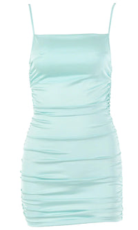Make You Mine Blue Ruched Satin Square Neck Spaghetti Strap Sleeveless Criss Crossed Open Back Mini Bodycon Dress