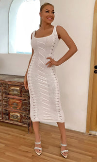 Weaving My Story White Cable Rib Knit Sleeveless Scoop Neck Bodycon Sweater Midi Dress