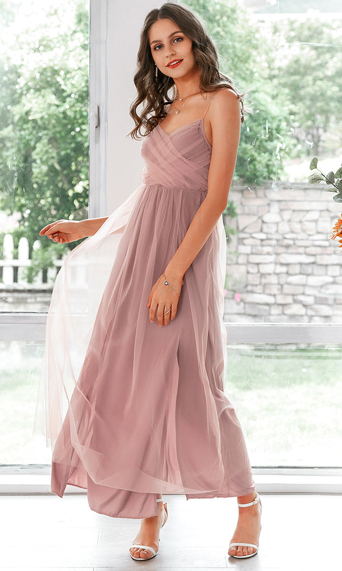 Summer Affair Pink Sheer Mesh Sleeveless Spaghetti Strap Cross Wrap V Neck Double Slit A Line Maxi Dress