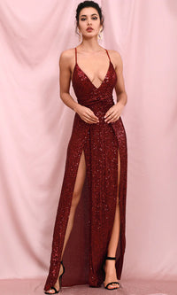 Born To Sparkle Burgundy Sequin Sleeveless Spaghetti Strap Plunge V Neck Double Slit Maxi Dress