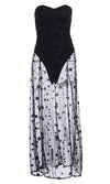 Dramatic Expression Black Gold Polka Dot Pattern Sleeveless Ruffle V Neck Cut Out Sides Open Back High Low Maxi Dress