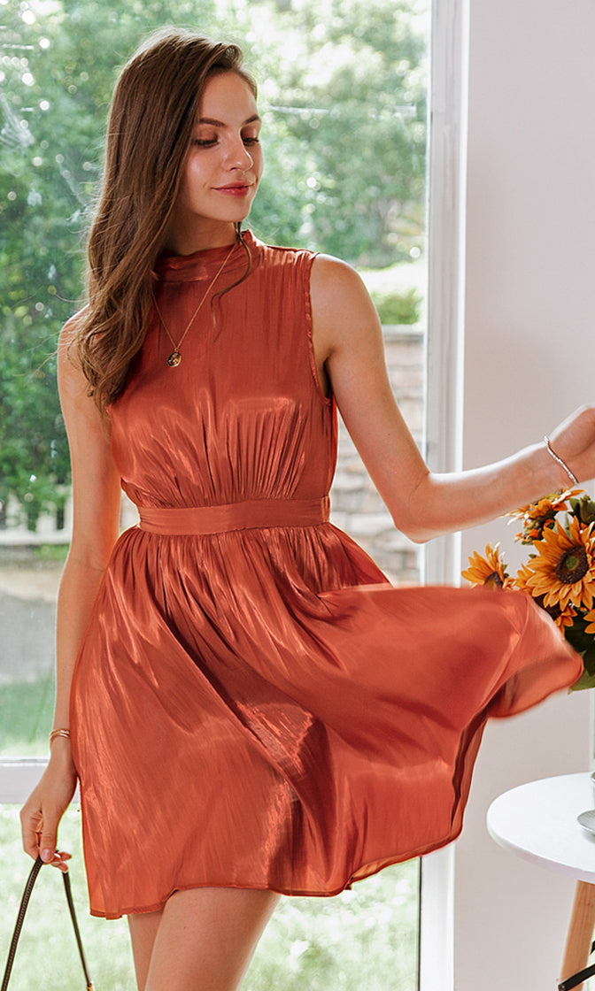 Pumpkin Pie Dark Orange Metallic Sleeveless Mock Neck Keyhole Bow Back Flare A Line Mini Dress