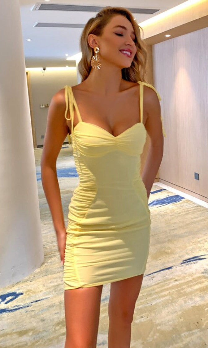 Golden Star Yellow Sheer Mesh Sleeveless Spaghetti Strap Sweetheart Neck Ruched Bodycon Mini Dress