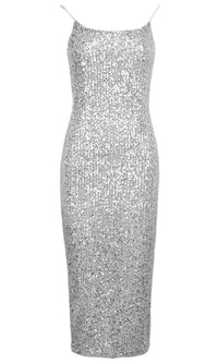 Disco Party Sequin Sleeveless Spaghetti Strap Scoop Neck Bodycon Midi Dress
