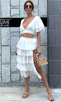 Never Forget Us White Short Sleeve V Neck Crop Top Tier Ruffle Side Tie Midi Skirt Casual Two Piece Dress