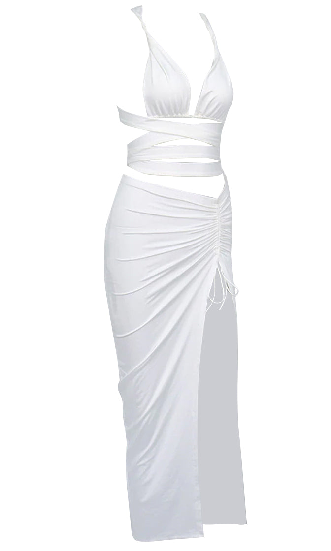 Goddess Energy White Sleeveless Crisscross Strap Plunge V Neck Crop Top Ruched Side Slit Bodycon Two Piece Midi Dress