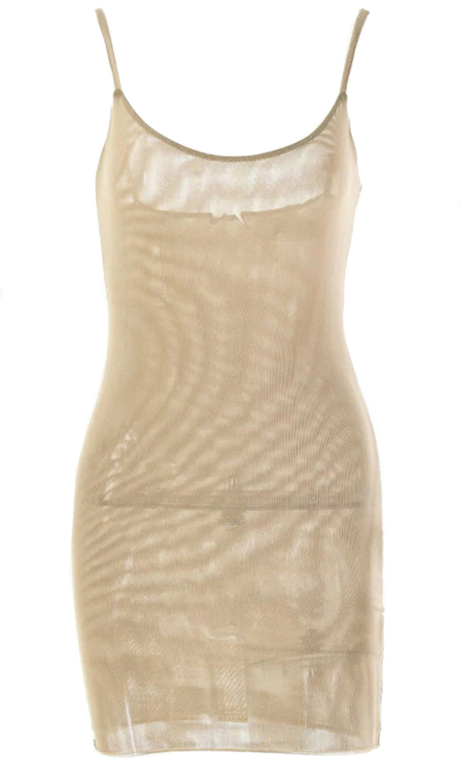 Ego Trip Sheer Mesh Sleeveless Spaghetti Strap Scoop Neck Bodycon Mini Dress