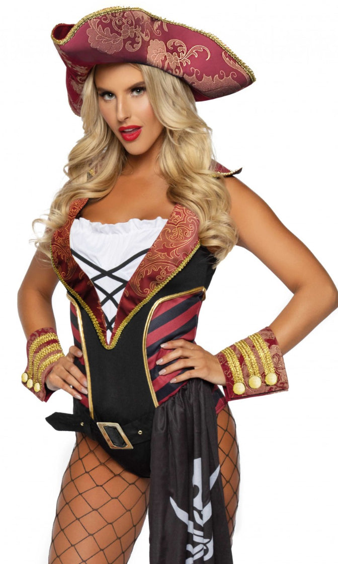 Pirate's Life Red Black Gold Sleeveless Bodysuit Brocade 4 Piece Halloween Costume