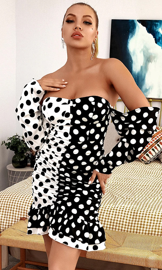 Split Personality White Black Polka Dot Pattern Long Sleeve Off The Shoulder Ruched Ruffle Bodycon Mini Dress