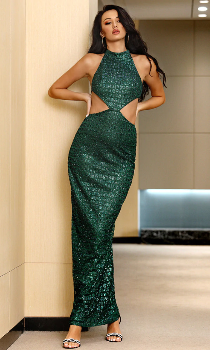 Glow With The Flow Emerald Green Glitter Sleeveless Round Neck Open Tie Back Cut Out Sides Bodycon Maxi Dress