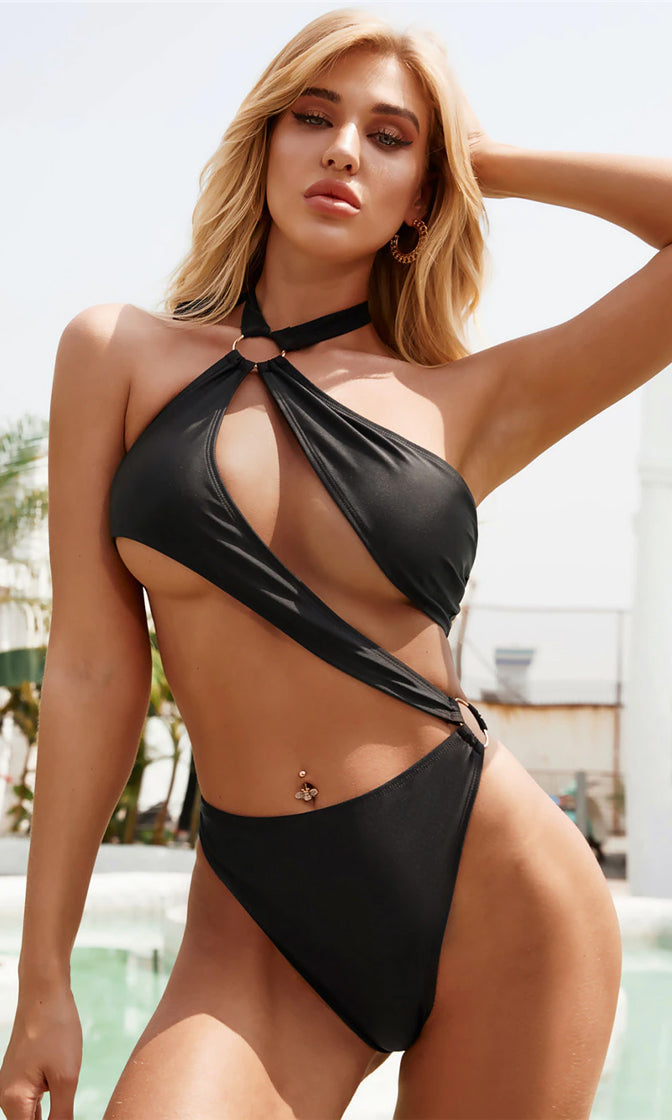 Down Beach Black Cut Out O Ring Halter Monokini Swimsuit - 2 Colors Available