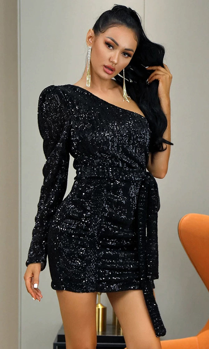 Always Happy Black Sequin Long Sleeve One Puff Shoulder Asymmetric Ruched Tie Belt Bodycon Mini Dress