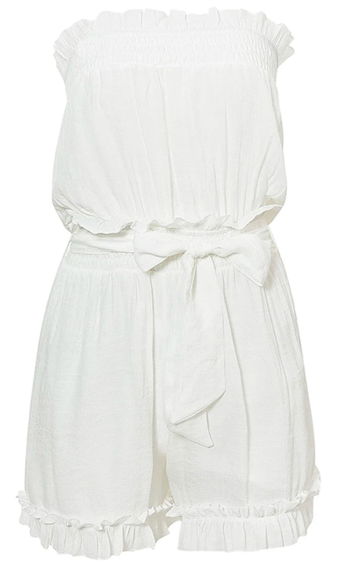 Cool Off White Strapless Smocked Elastic Waist Tie Belt Ruffle Romper Playsuit