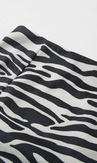 Jungle Life Black White Zebra Print Animal Pattern High Waist Bodycon Side Slit Mini Skirt