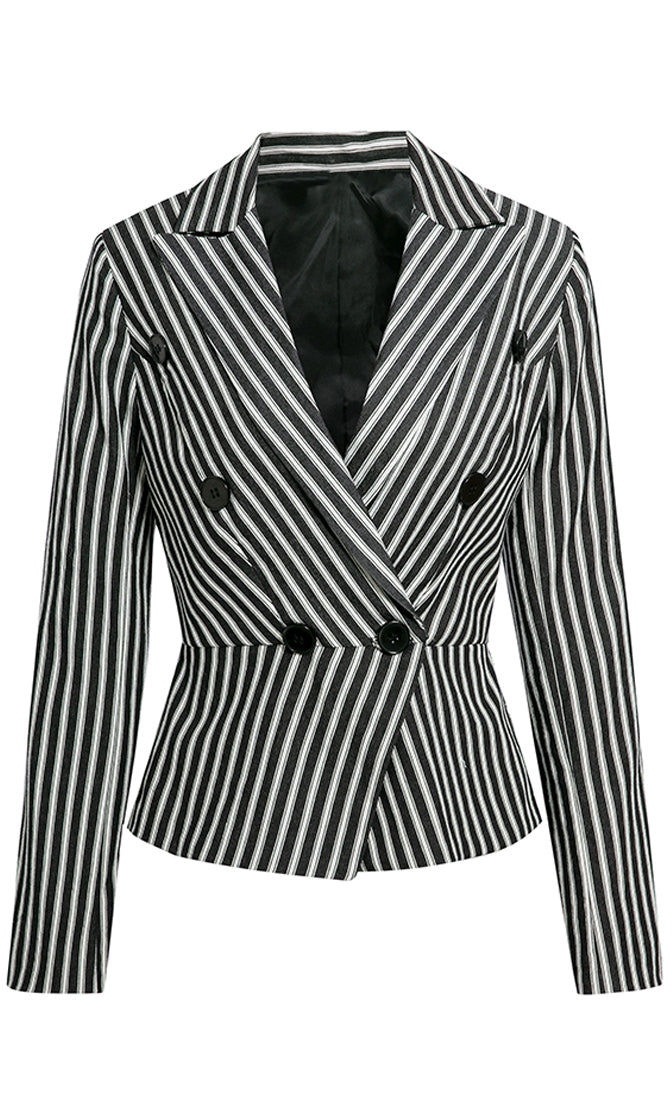 Business Savvy Black White Stripe Pattern Long Sleeve V Neck Button Blazer Jacket Outerwear