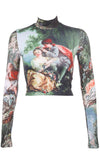 Lover Come Back Angel Religion Print Art Pattern Long Sleeve Mock Neck Crop Top Flare A Line Mini Two Piece Dress