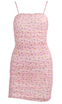 Floral Rush Pink Mesh Floral Pattern Sleeveless Spaghetti Strap Square Neck Ruched Casual Bodycon Mini Dress