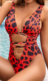 Beach Talk Animal Pattern Sleeveless Plunge V Neck Cut Out Lace Up Brazilian One Piece Swimsuit - 3 Colors Available