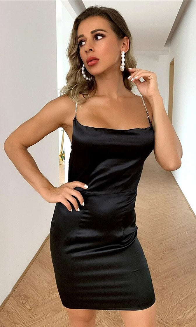 Putting On A Show Black Satin Sleeveless Rhinestone Spaghetti Strap V Neck Backless Bodycon Mini Dress