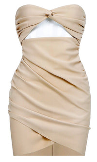 Anything You Desire Beige Strapless Ruched Crossover Wrap Cut Out Waist Bodycon Mini Dress