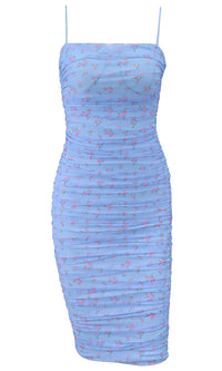 Natural Emotions Blue Floral Pattern Mesh Sleeveless Spaghetti Strap Square Neck Ruched Bodycon Casual Midi Dress