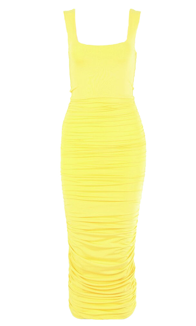 Crush On You Sleeveless Square Neck Scoop Back Ruched Bodycon Midi Dress - 9 Colors Available