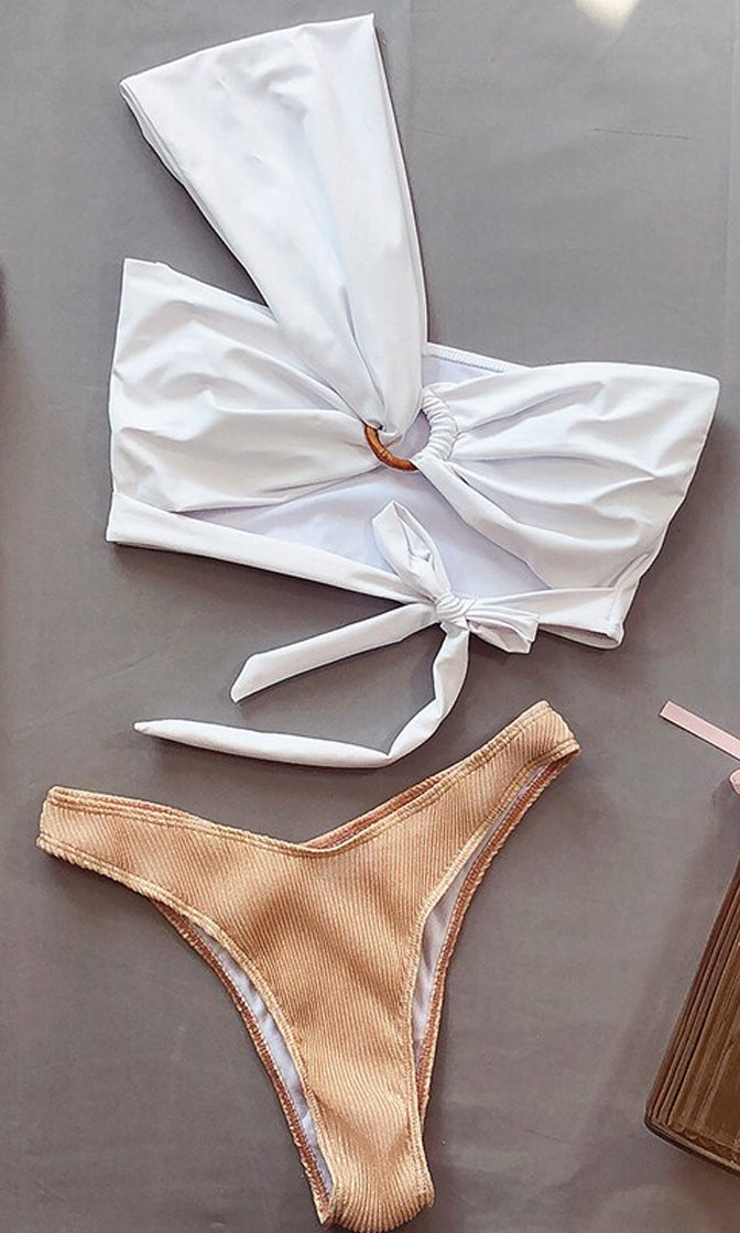 Sophisticated In The Sun White Beige One Shoulder Asymmetric Cut Out Tie Bow Two Piece Brazilian Bikini Swimsuit