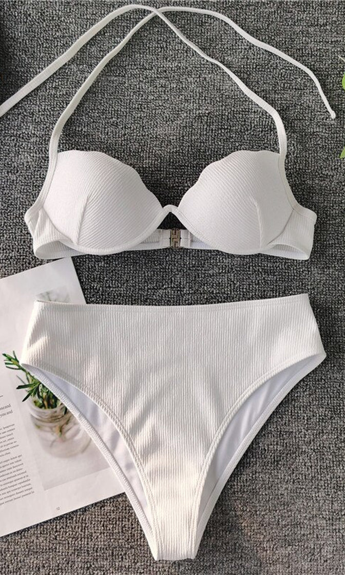 Seashore Escape Scallop Push Up Bra Top High Waist Bikini Two Piece Swimsuit - 2 Colors Available