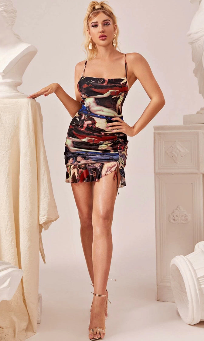 Be All End All Brown Religion Print Art Pattern Sleeveless Spaghetti Strap Scoop Neck Ruched Ruffle Bodycon Mini Dress