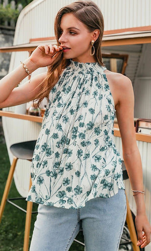 Flower Bouquet White Green Floral Pattern Sleeveless Smocked Mock Neck Pleated Swing Blouse Top